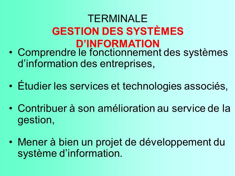 TERMINALE GESTION DES SYSTÈMES D'INFORMATION