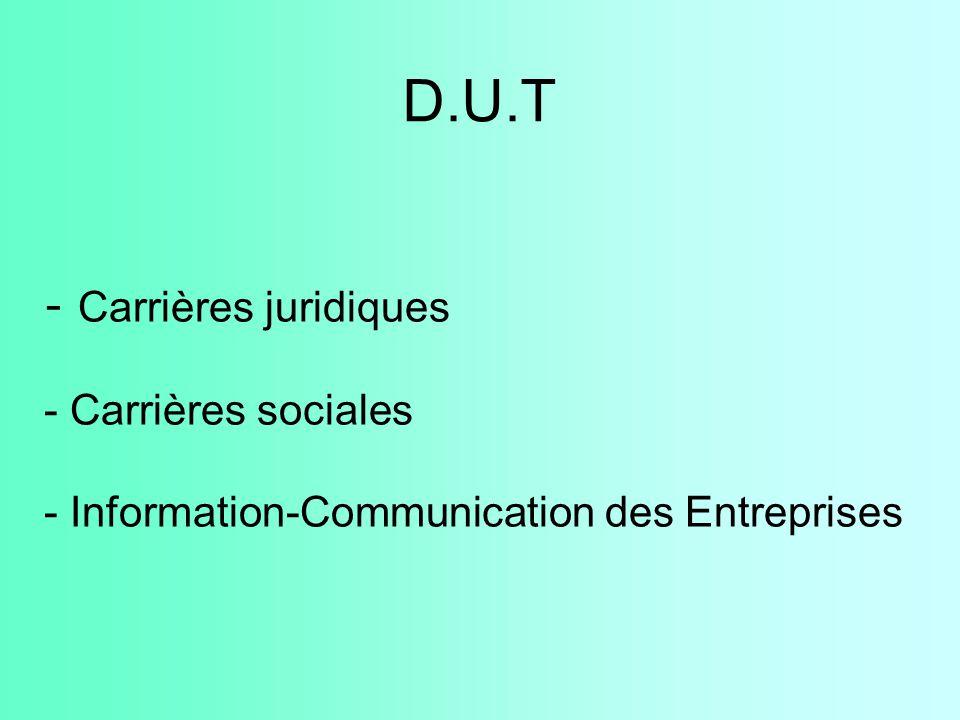 D.U.T Carrières juridiques Carrières sociales