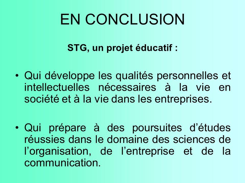 STG, un projet éducatif :