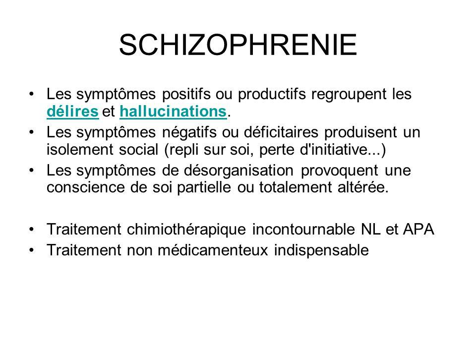 SCHIZOPHRENIE Les symptômes positifs ou productifs regroupent les délires et hallucinations.