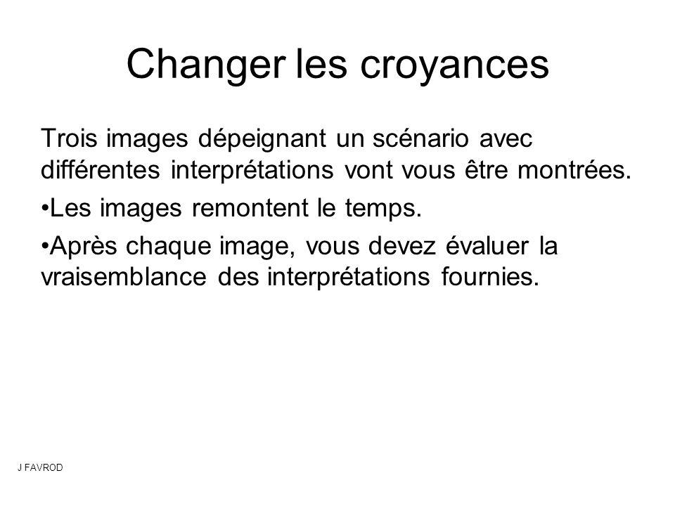 Changer les croyances Trois images dépeignant un scénario avec différentes interprétations vont vous être montrées.