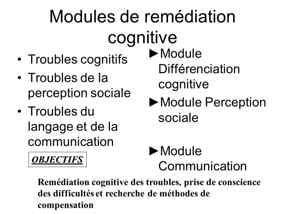 Modules de remédiation cognitive