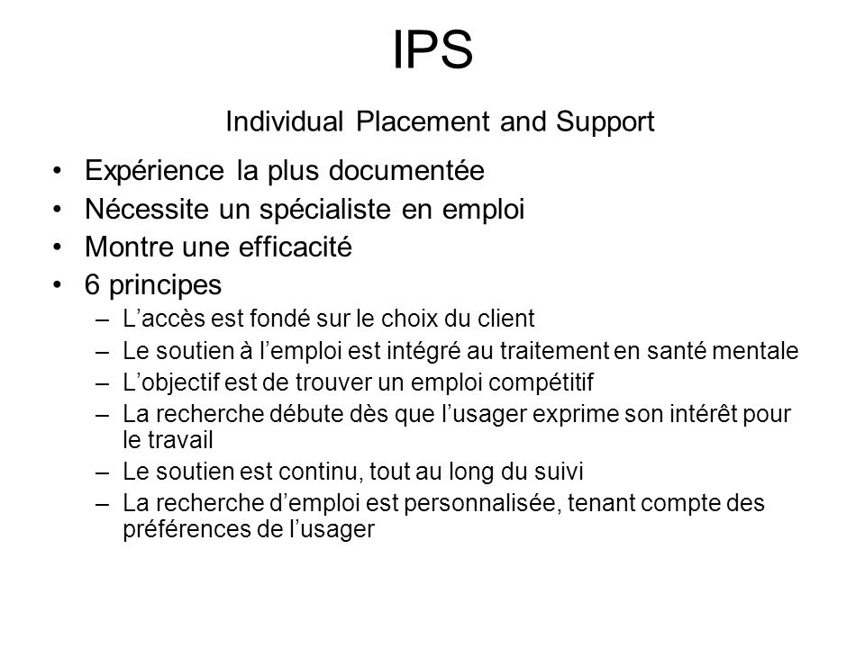 IPS Individual Placement and Support