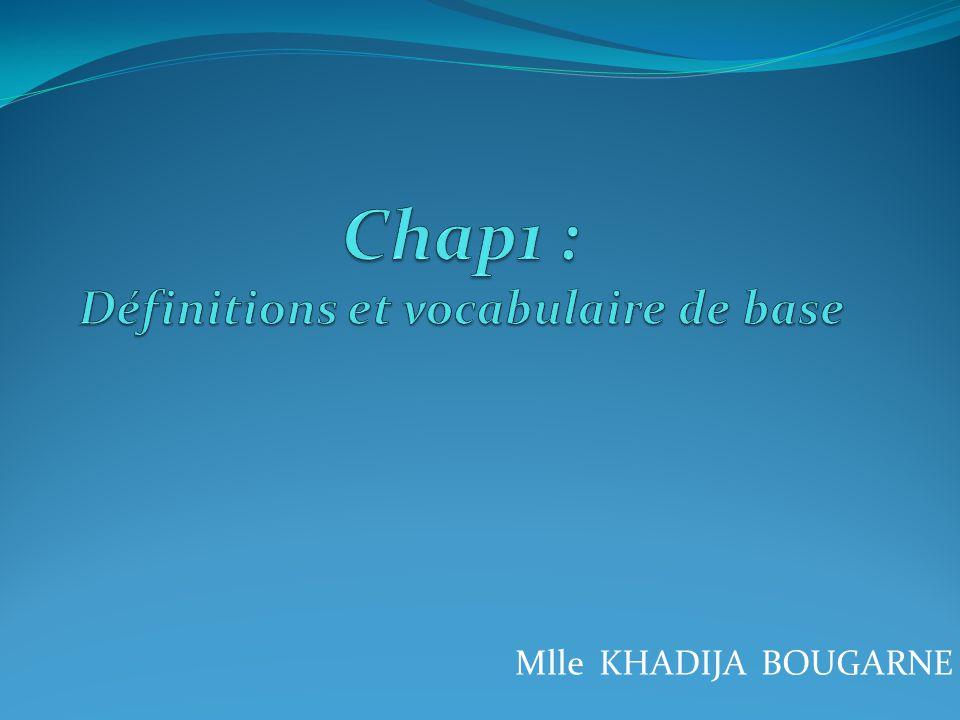 Chap1 : Définitions et vocabulaire de base