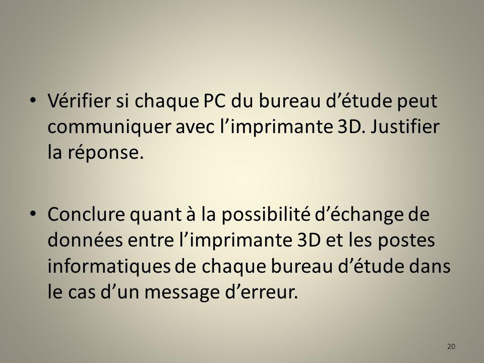 Vérifier si chaque PC du bureau d'étude peut communiquer avec l'imprimante 3D. Justifier la réponse.