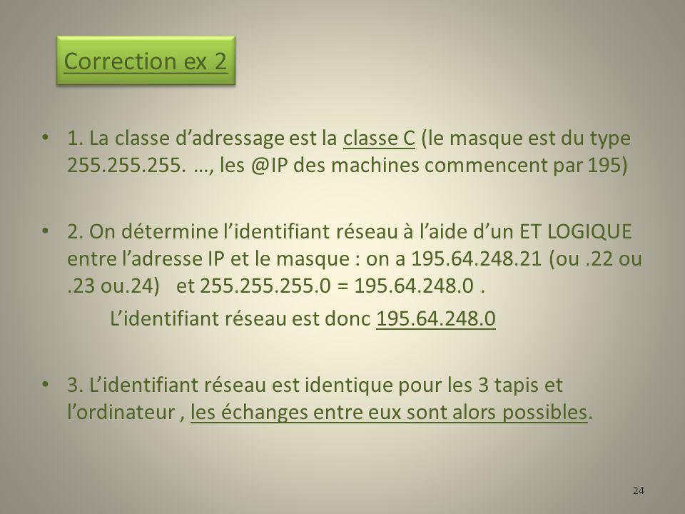 Correction ex 2 1. La classe d'adressage est la classe C (le masque est du type 255.255.255. …, les @IP des machines commencent par 195)