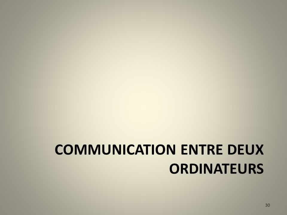 Communication entre deux ordinateurs