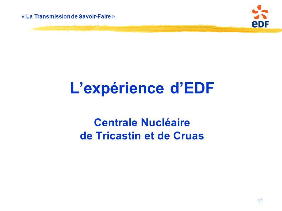 L'expérience d'EDF Centrale Nucléaire de Tricastin et de Cruas