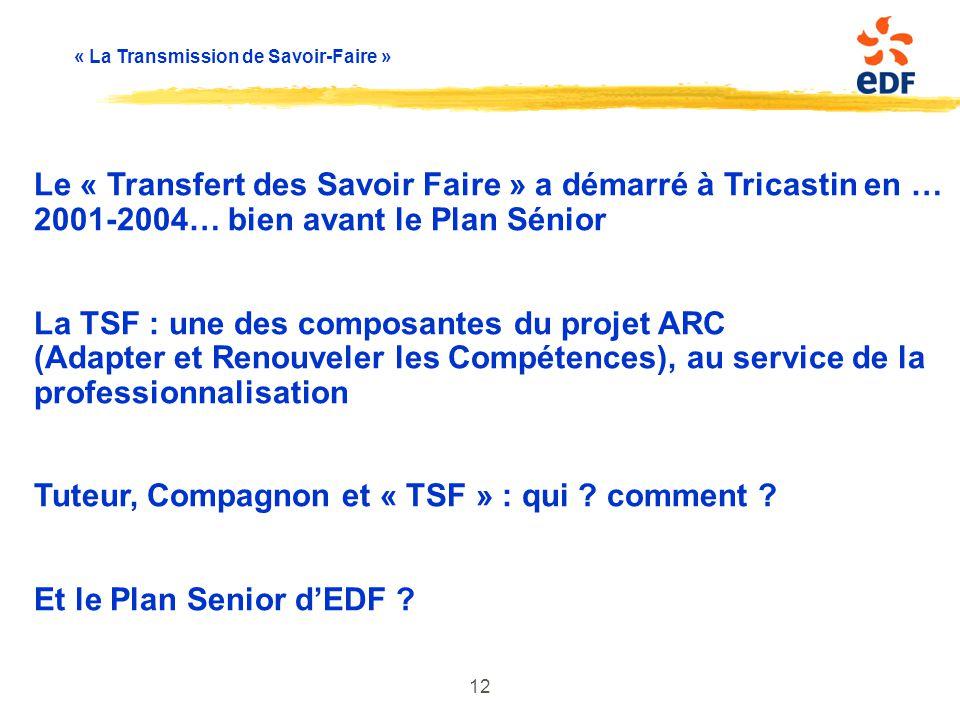 Le « Transfert des Savoir Faire » a démarré à Tricastin en … 2001-2004… bien avant le Plan Sénior