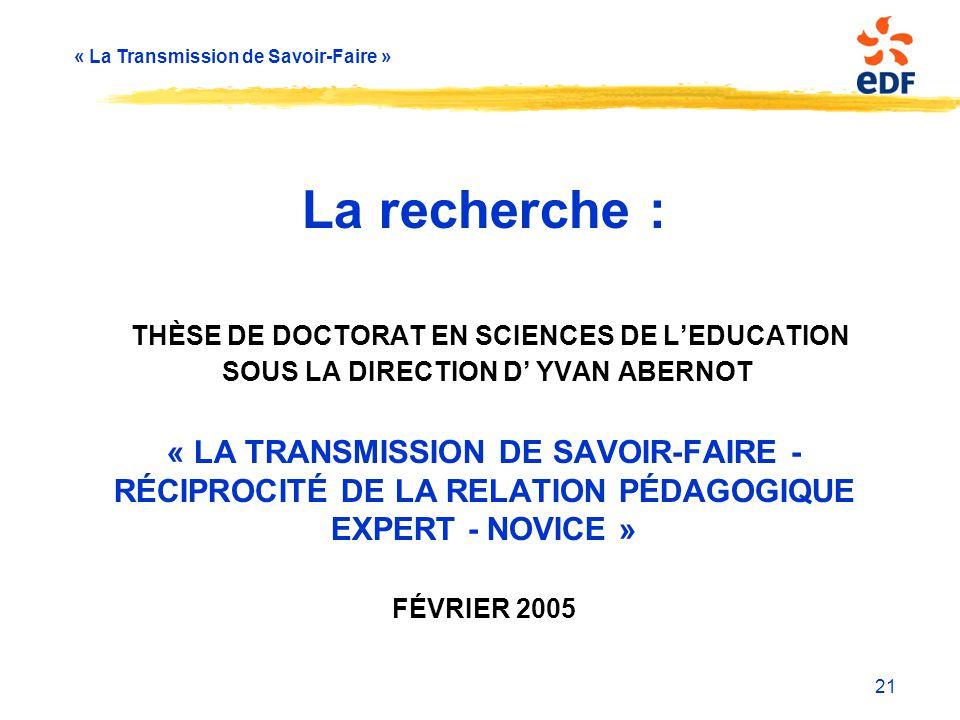 La recherche : Thèse de Doctorat en Sciences de l'Education Sous la direction d' Yvan Abernot « La Transmission de Savoir-Faire - Réciprocité de la relation pédagogique Expert - Novice » février 2005