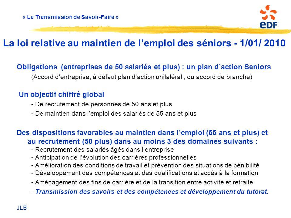 La loi relative au maintien de l'emploi des séniors - 1/01/ 2010
