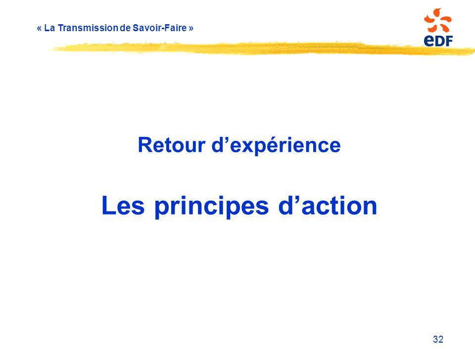 Retour d'expérience Les principes d'action