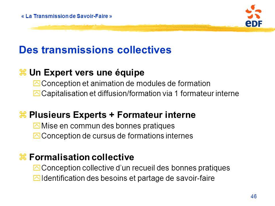Des transmissions collectives