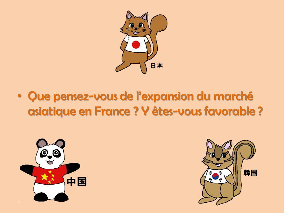 Que pensez-vous de l'expansion du marché asiatique en France
