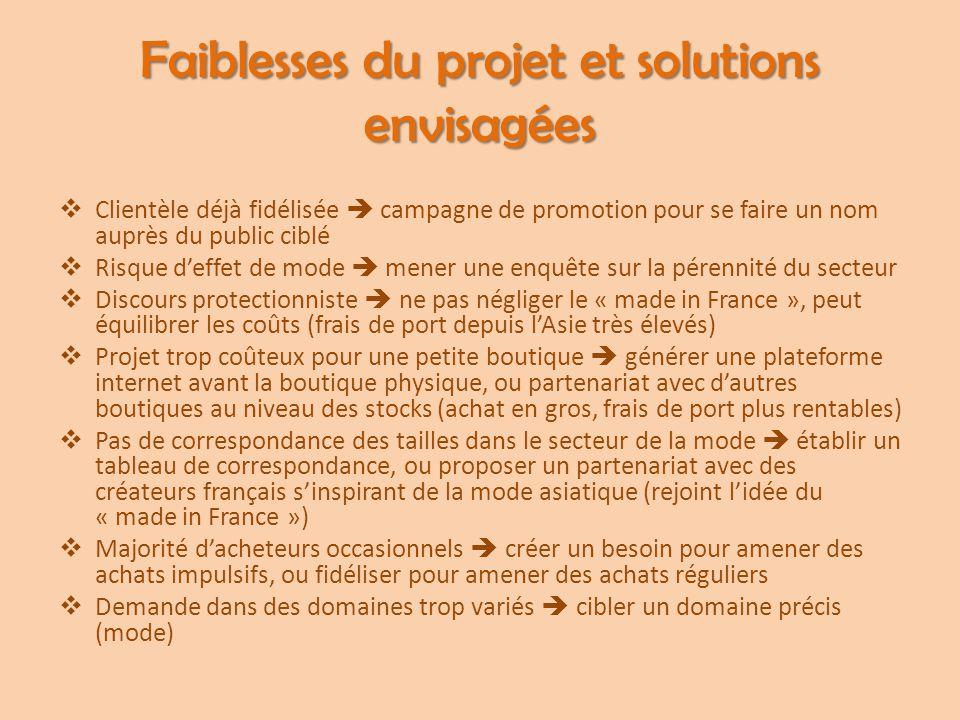 Faiblesses du projet et solutions envisagées