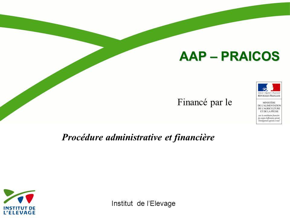 AAP – PRAICOS Financé par le Procédure administrative et financière