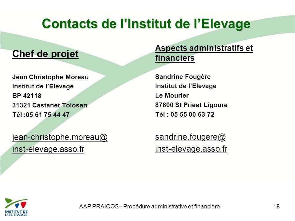 Contacts de l'Institut de l'Elevage