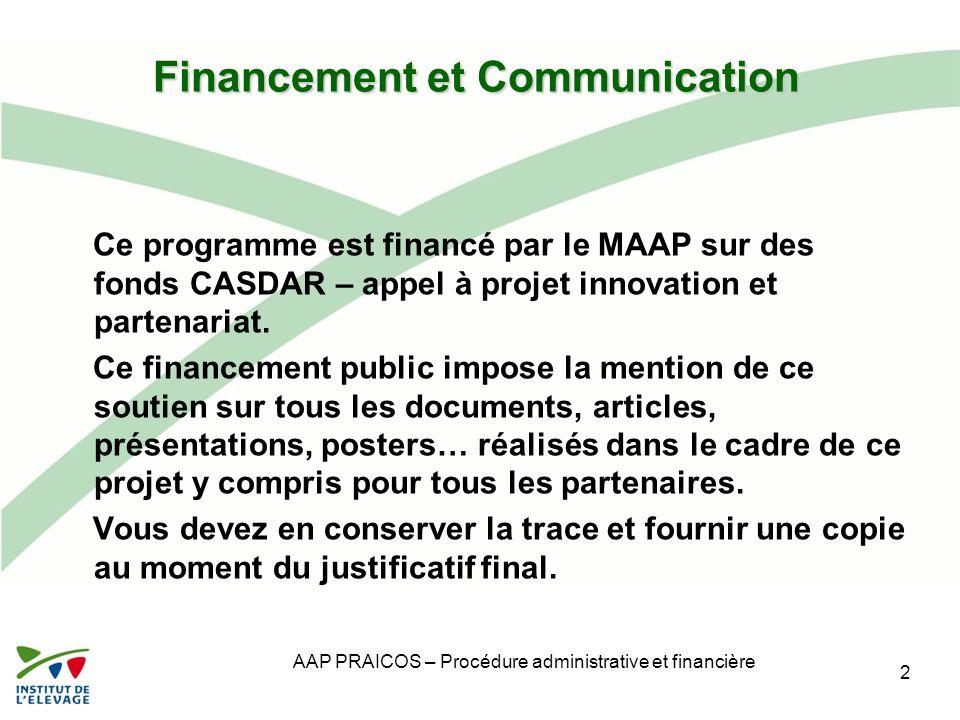 Financement et Communication