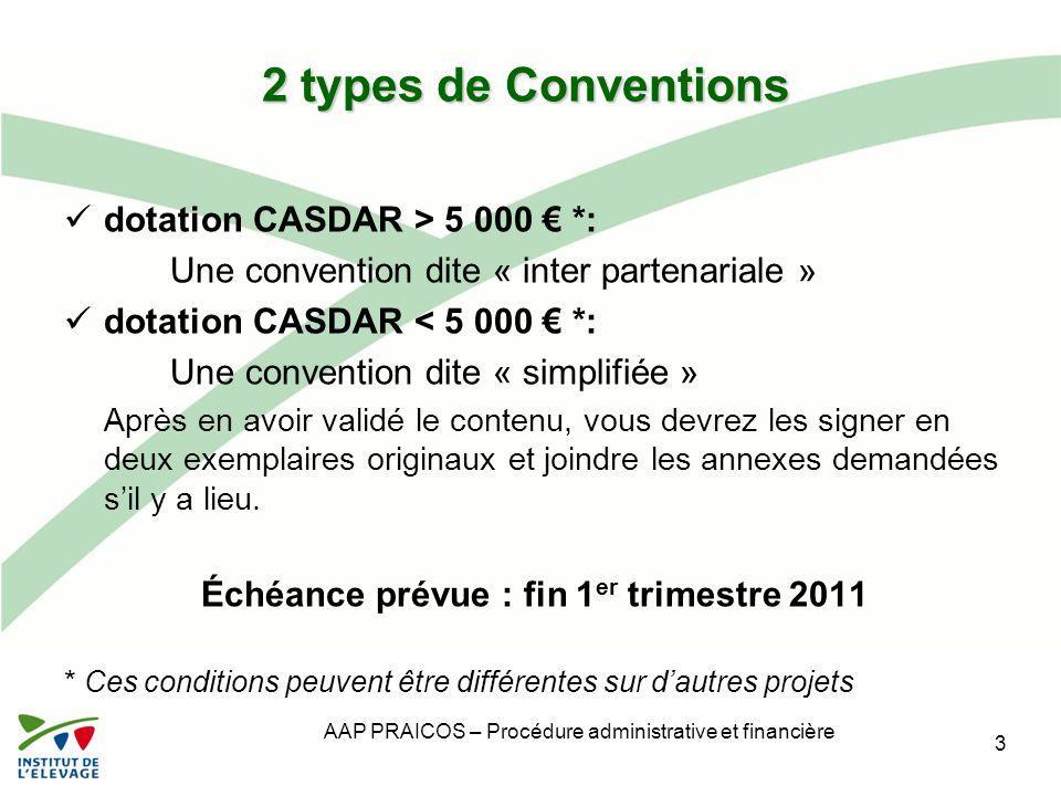 Échéance prévue : fin 1er trimestre 2011