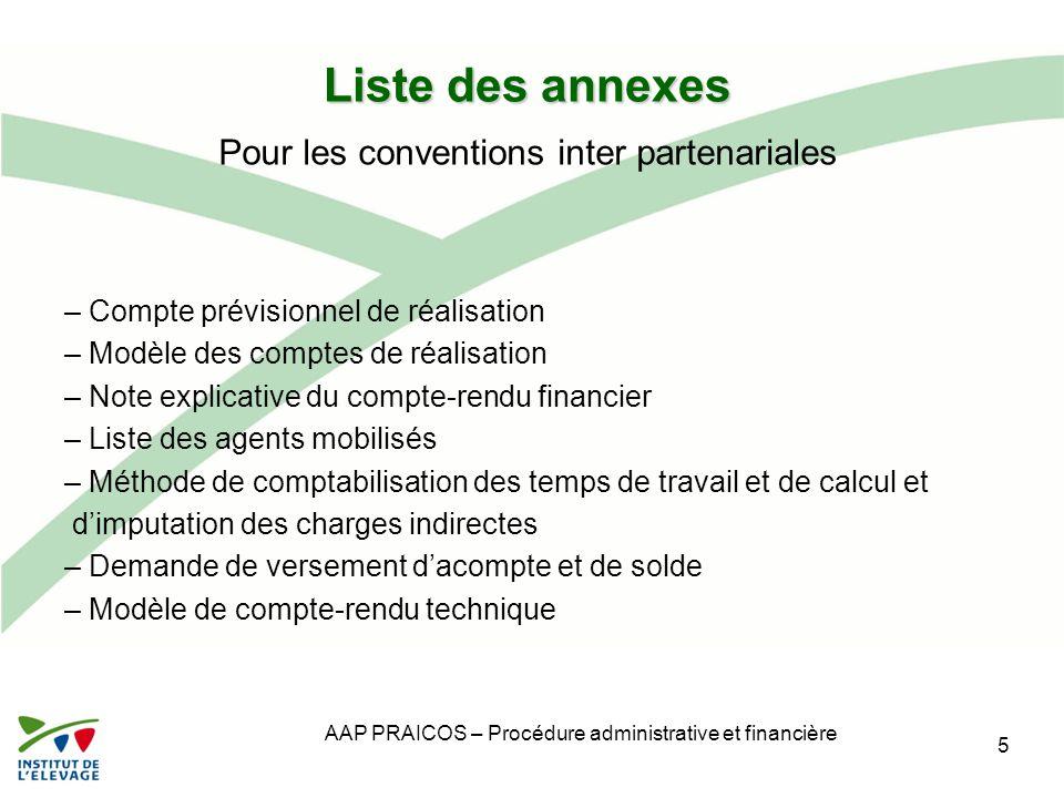 Liste des annexes Pour les conventions inter partenariales