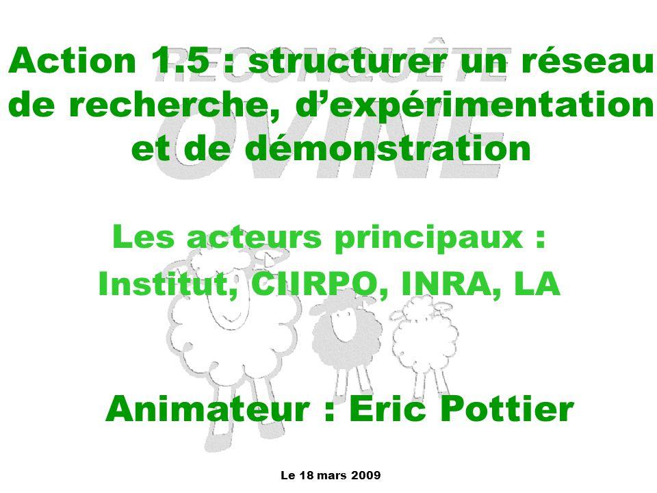 Les acteurs principaux : Institut, CIIRPO, INRA, LA