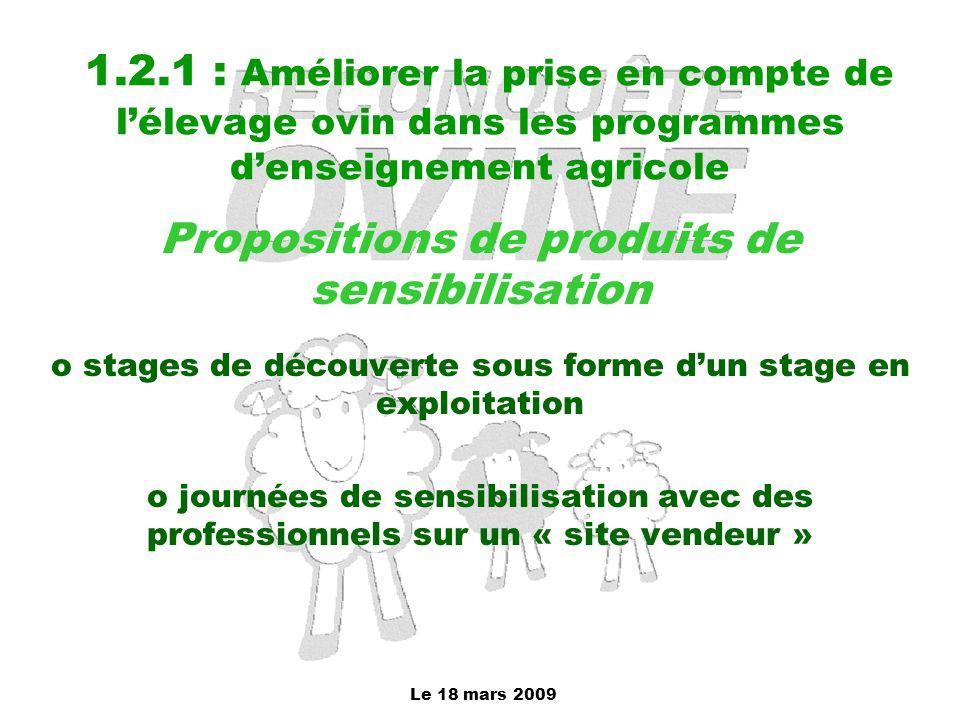 1.2.1 : Améliorer la prise en compte de l'élevage ovin dans les programmes d'enseignement agricole