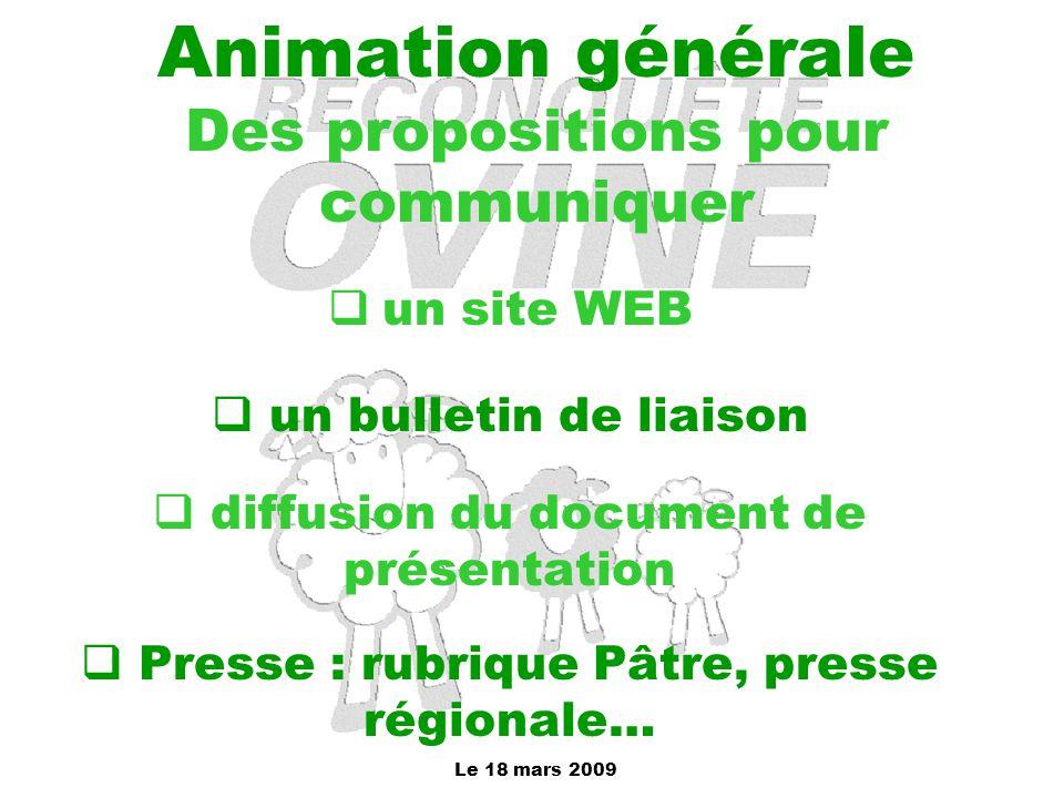 Animation générale Des propositions pour communiquer