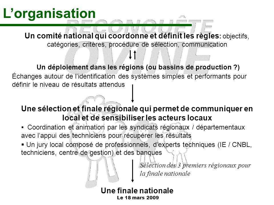 Un déploiement dans les régions (ou bassins de production )