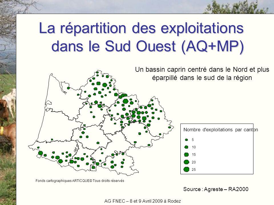 La répartition des exploitations dans le Sud Ouest (AQ+MP)