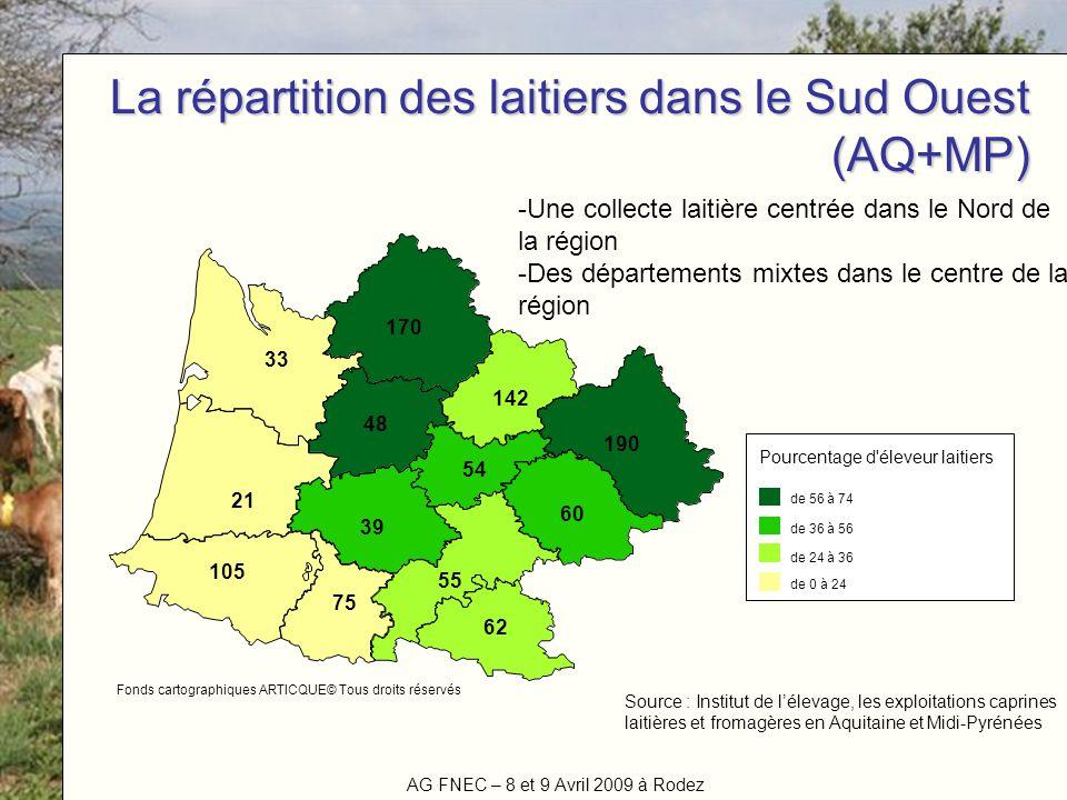 La répartition des laitiers dans le Sud Ouest (AQ+MP)