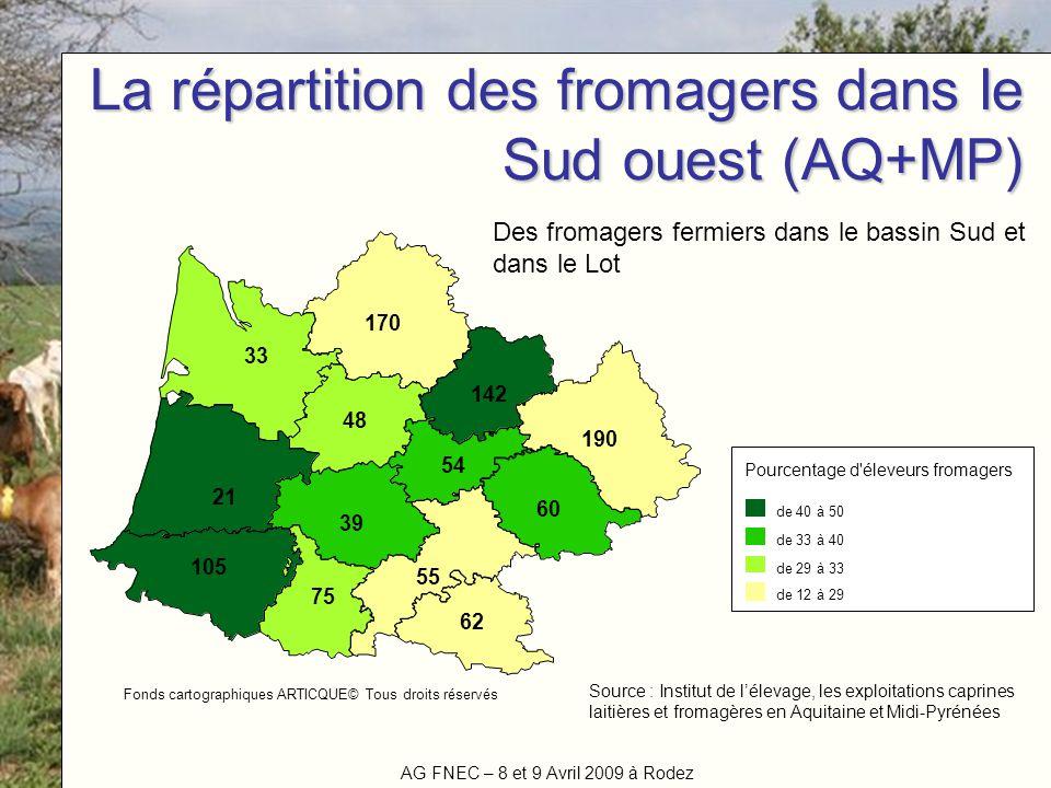 La répartition des fromagers dans le Sud ouest (AQ+MP)