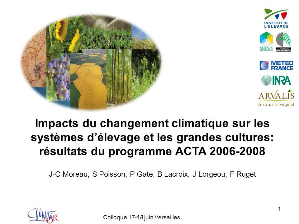 Impacts du changement climatique sur les systèmes d'élevage et les grandes cultures: résultats du programme ACTA 2006-2008