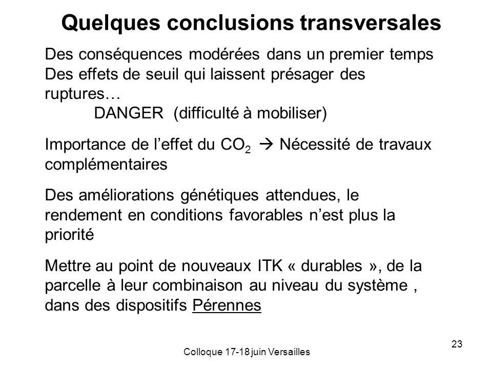 Quelques conclusions transversales