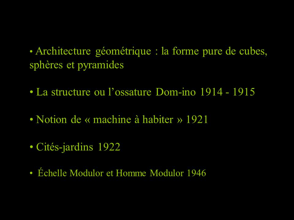 La structure ou l'ossature Dom-ino 1914 - 1915