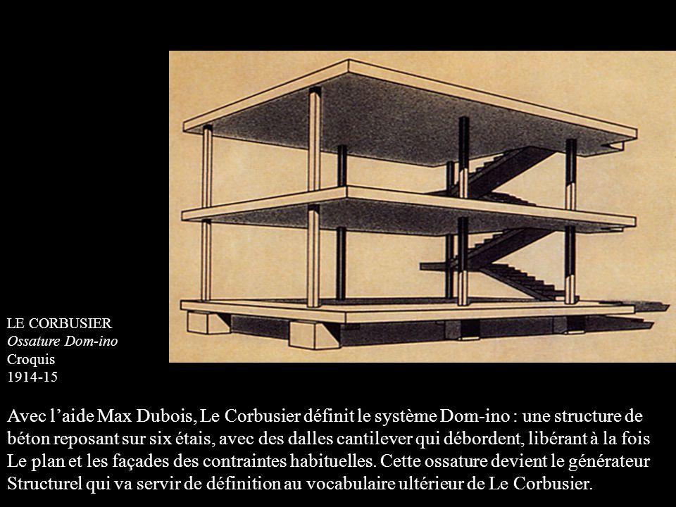 LE CORBUSIER Ossature Dom-ino. Croquis. 1914-15. Avec l'aide Max Dubois, Le Corbusier définit le système Dom-ino : une structure de.