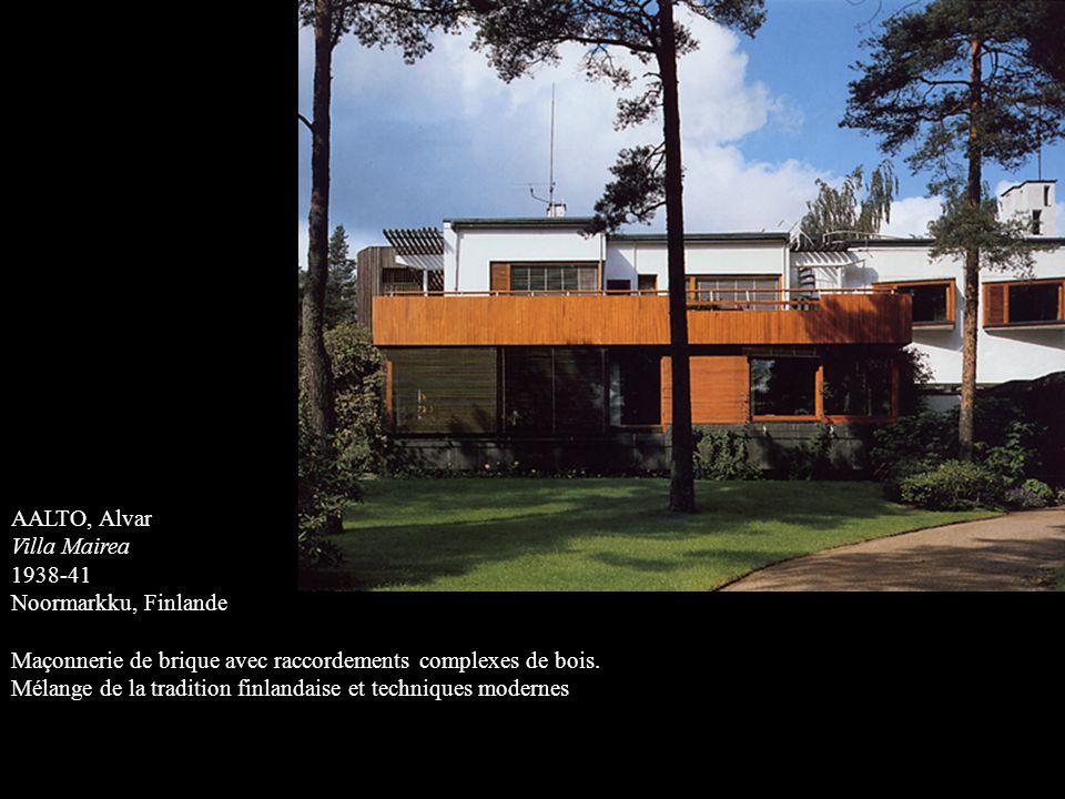 AALTO, Alvar Villa Mairea. 1938-41. Noormarkku, Finlande. Maçonnerie de brique avec raccordements complexes de bois.