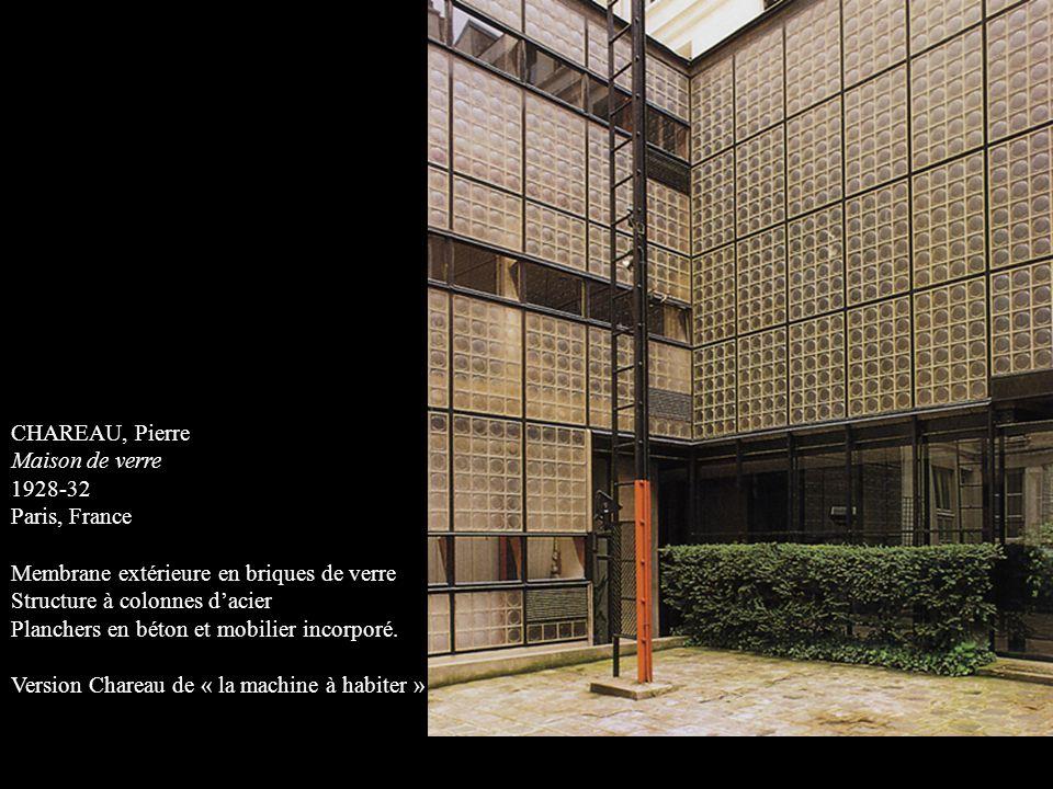 CHAREAU, Pierre Maison de verre. 1928-32. Paris, France. Membrane extérieure en briques de verre.