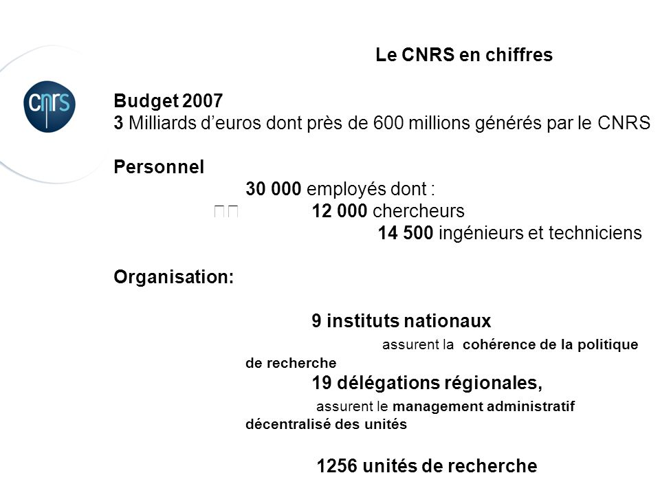 Le CNRS en chiffres Budget 2007. 3 Milliards d'euros dont près de 600 millions générés par le CNRS.