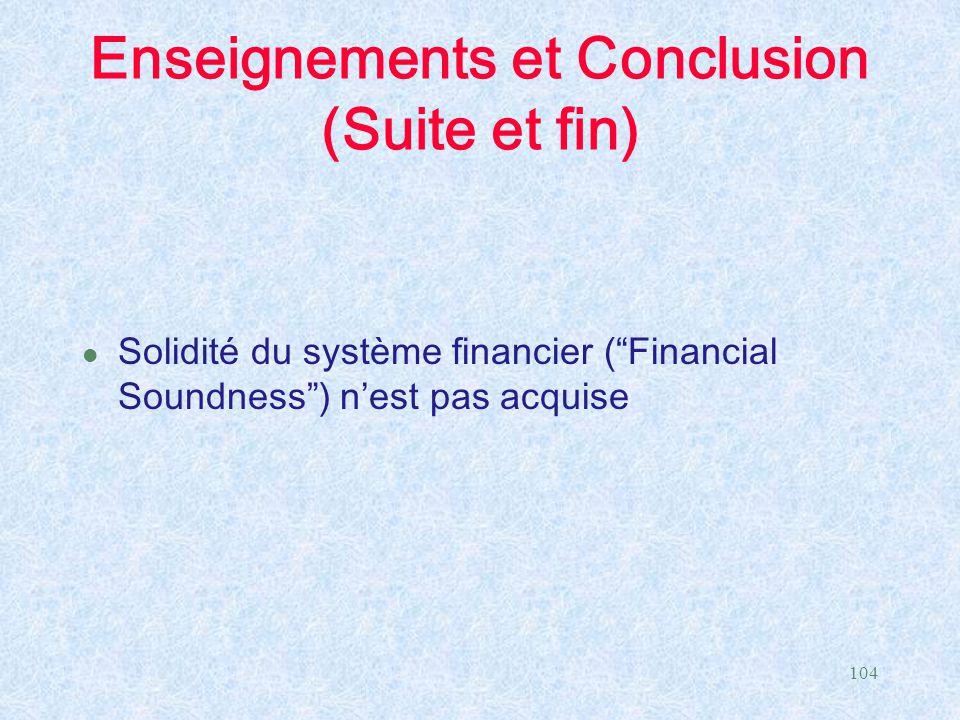 Enseignements et Conclusion (Suite et fin)