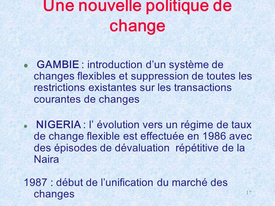 Une nouvelle politique de change