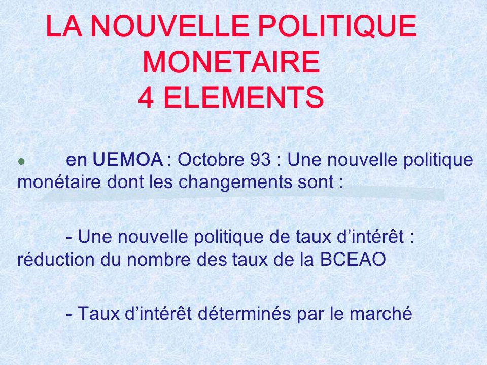 LA NOUVELLE POLITIQUE MONETAIRE 4 ELEMENTS