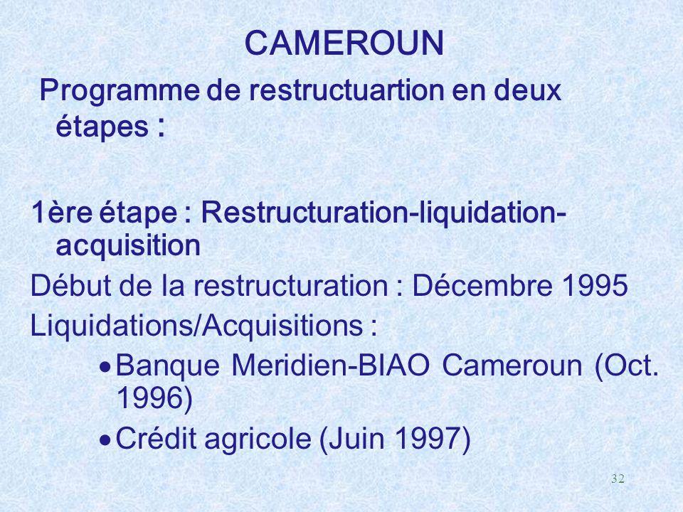 Programme de restructuartion en deux étapes :