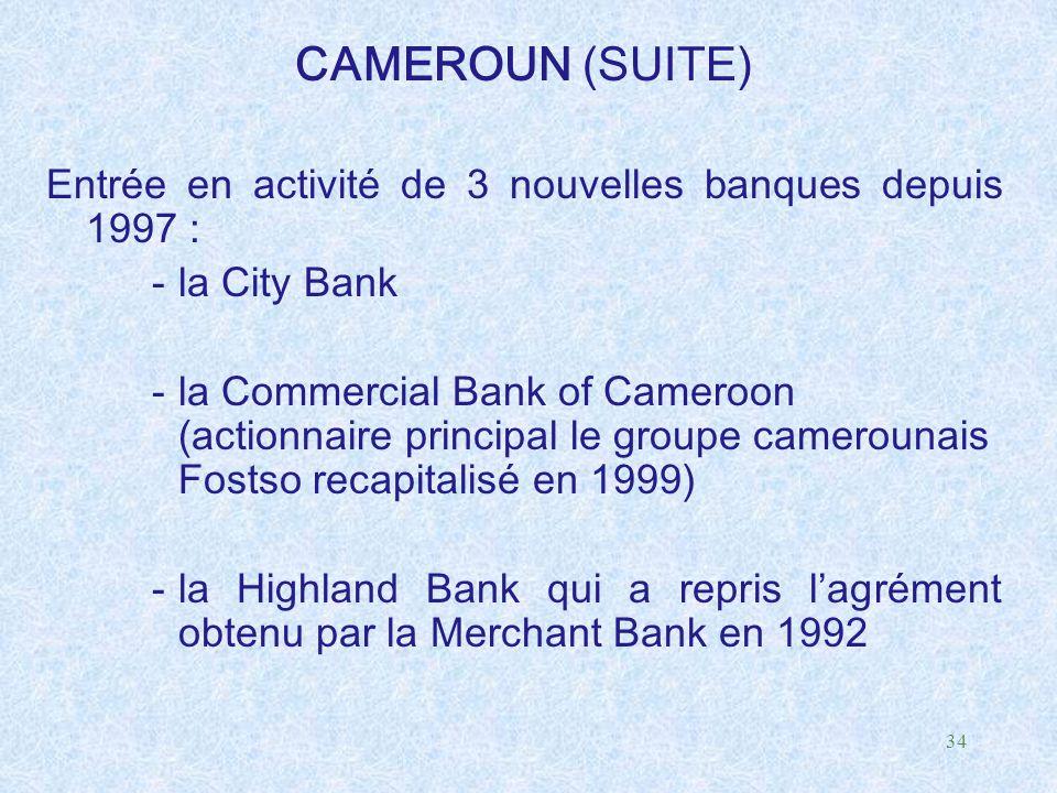 CAMEROUN (SUITE) Entrée en activité de 3 nouvelles banques depuis 1997 : la City Bank.