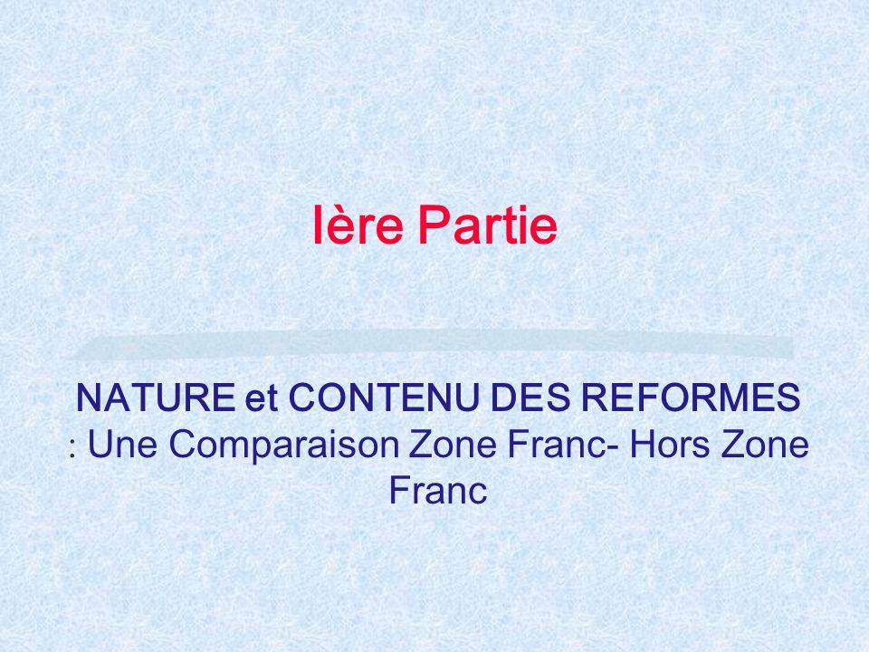 Ière Partie NATURE et CONTENU DES REFORMES : Une Comparaison Zone Franc- Hors Zone Franc