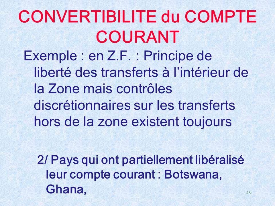 CONVERTIBILITE du COMPTE COURANT