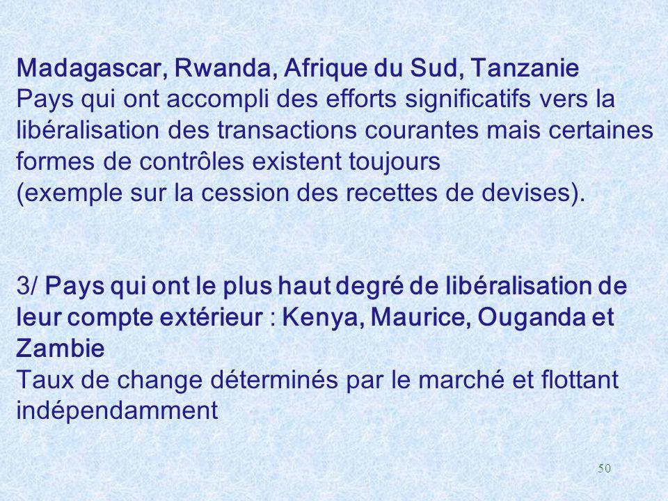 Madagascar, Rwanda, Afrique du Sud, Tanzanie