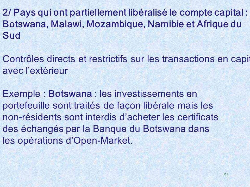 2/ Pays qui ont partiellement libéralisé le compte capital :