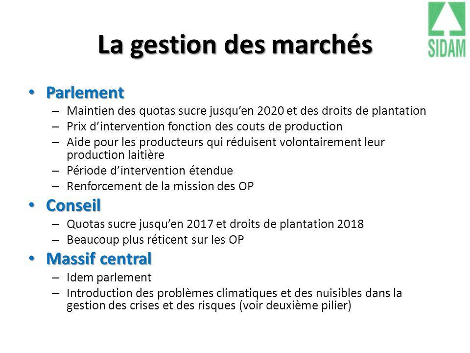 La gestion des marchés Parlement Conseil Massif central