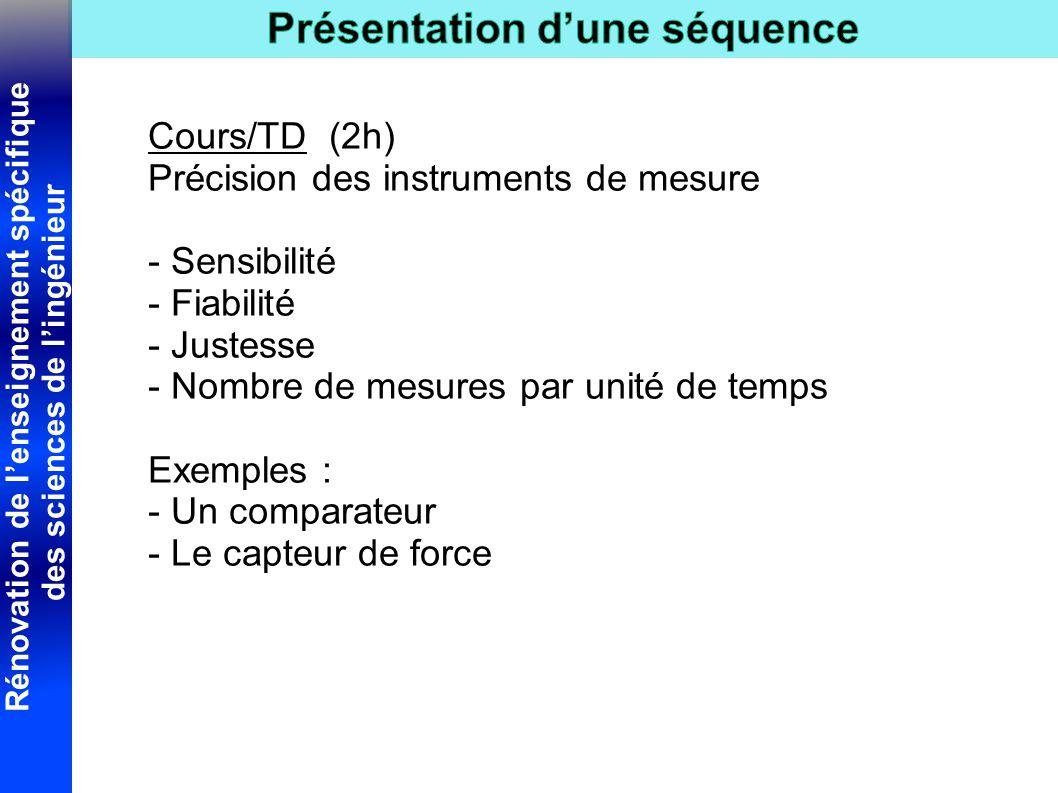 Cours/TD (2h) Précision des instruments de mesure. - Sensibilité. - Fiabilité. - Justesse. - Nombre de mesures par unité de temps.