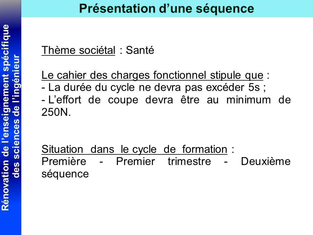 Thème sociétal : Santé Le cahier des charges fonctionnel stipule que : La durée du cycle ne devra pas excéder 5s ;